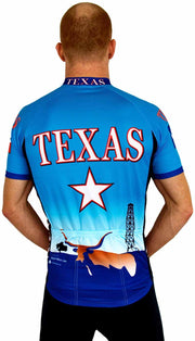 Texas Cool Blue Bike Jersey - Closeout - Free Spirit Bike Jerseys