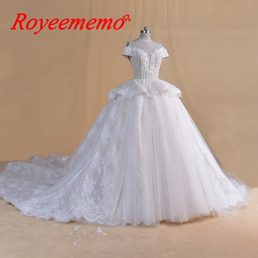 luxurious design lace ball gown wedding dress shiny wedding gown custom made factory wholesale price royal train bridal dress
