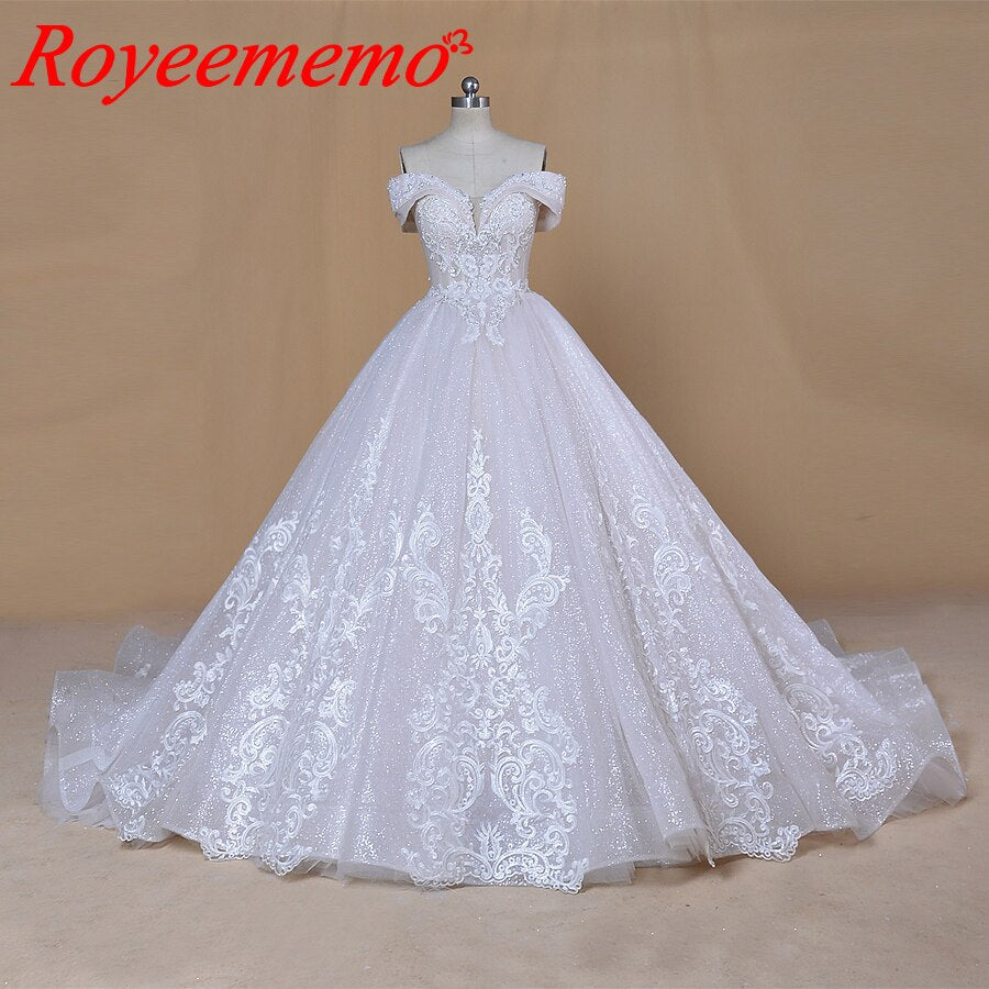 2020 new desgin off the shoulder sleeves Wedding Dresses  luxurious bride dress custom made wedding gown factory directly