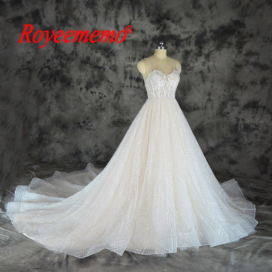 2019 shining lace design wedding dress sequined lace transparent top wedding gown wholesale price spaghetti straps bridal dress