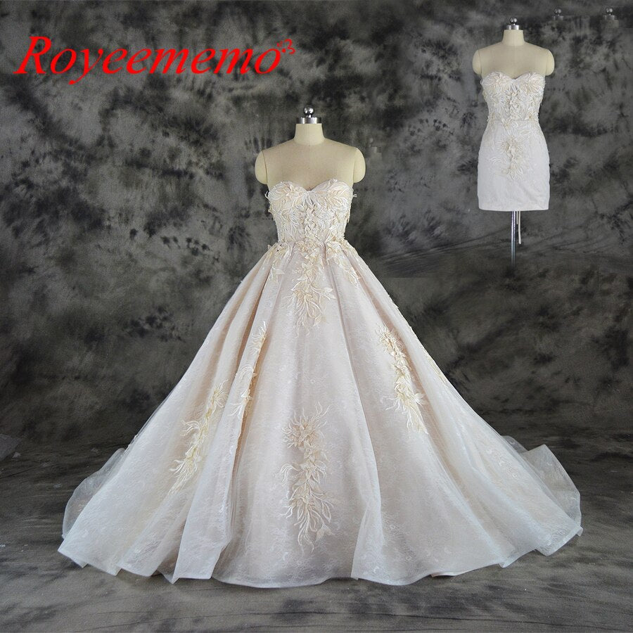 2019 new hot sale sexy design top detachable skirt Wedding Dress Luxury 3D lace Bridal gown wholesale price bridal dress factory