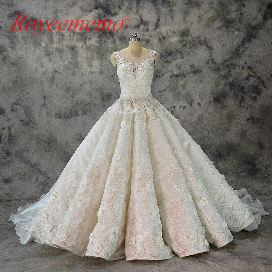 Vestido de Noiva luxury lace design wedding dress big royal train wedding gown factory made Ball gown wholesale bridal dress