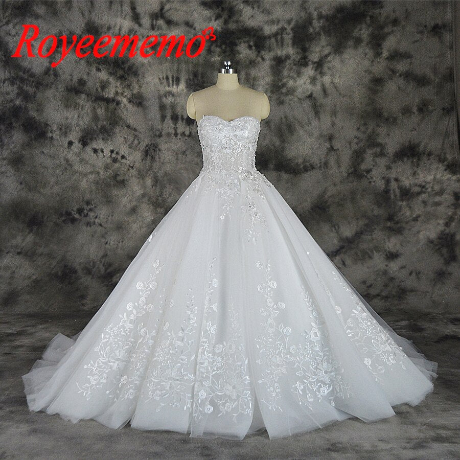 2019 special lace new design Wedding Dress sleeveless Bridal gown sweetheart neck line wedding gown factory directly wholesale