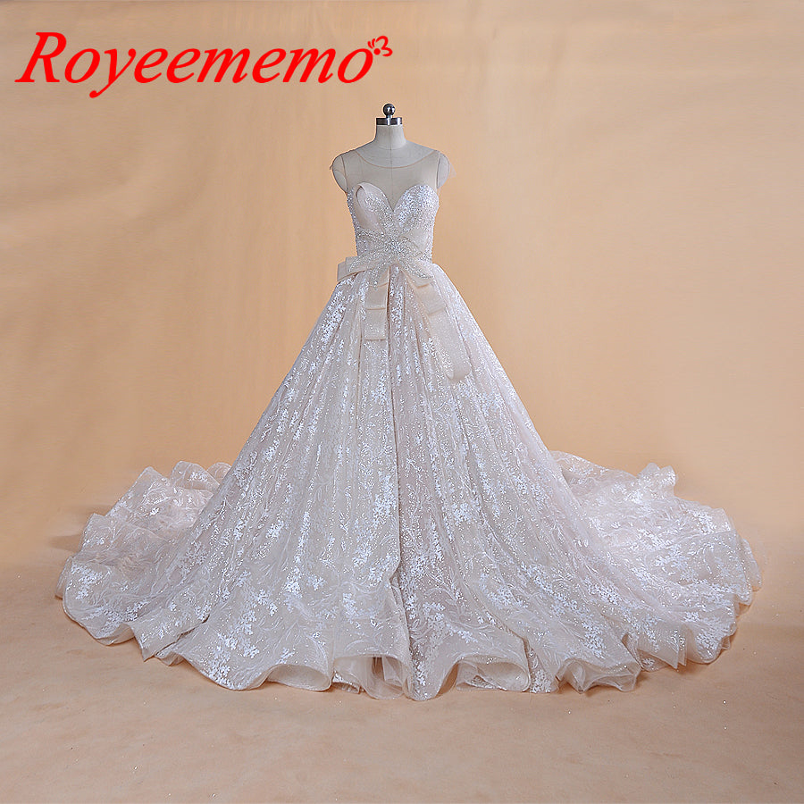 Vestido de Noiva luxury shinning wedding dress Vintage Robe De Mariage special lace design shiny luxurious wedding gown factory