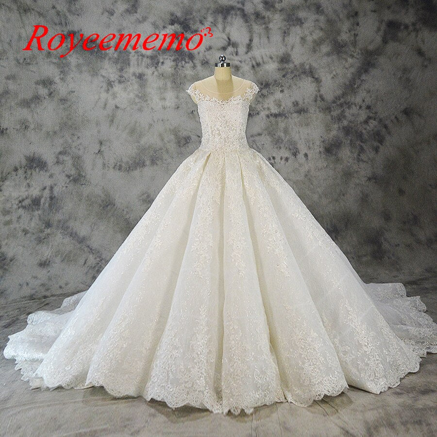 Vestido de Noiva luxury lace design wedding dress big royal train wedding gown factory made wholesale price bridal dress