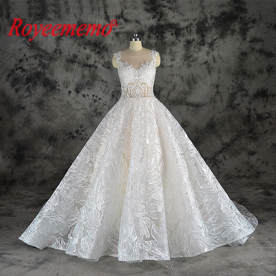 2019 new design lace ball gown wedding dress luxury Champagne and Ivory wedding gown custom made wholesale price bridal dress