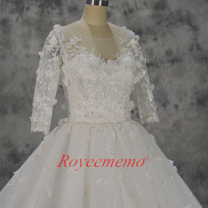 Vestido de Noiva new luxury lace ball gown flower wedding dress half sleeves wedding gown custom made factory wholesale price