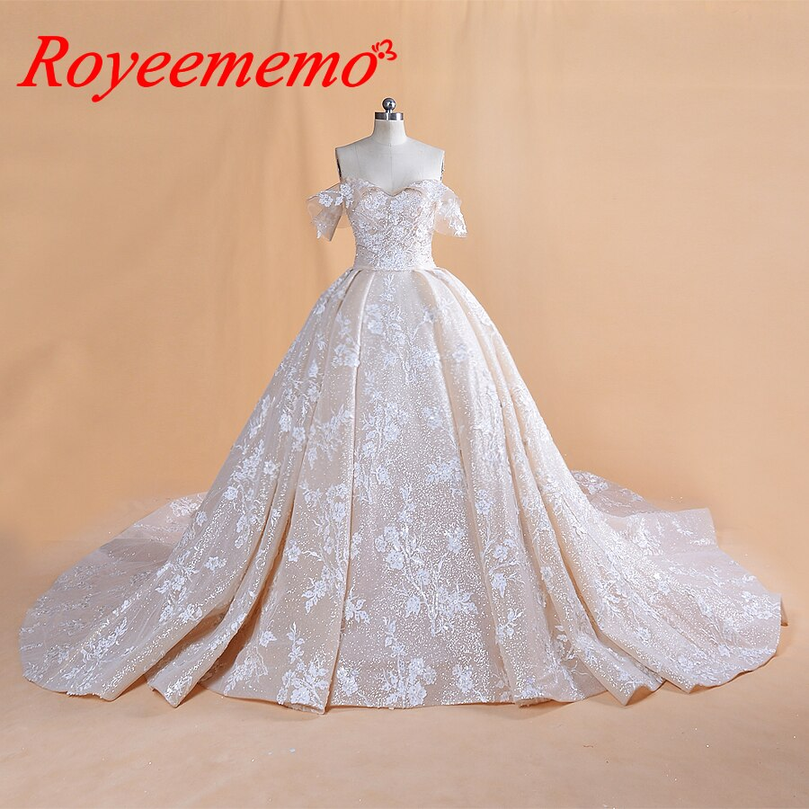 2019 new luxurious lace wedding dress Royal train ball gown bling bling glitter lace wedding gown custom made bridal dress