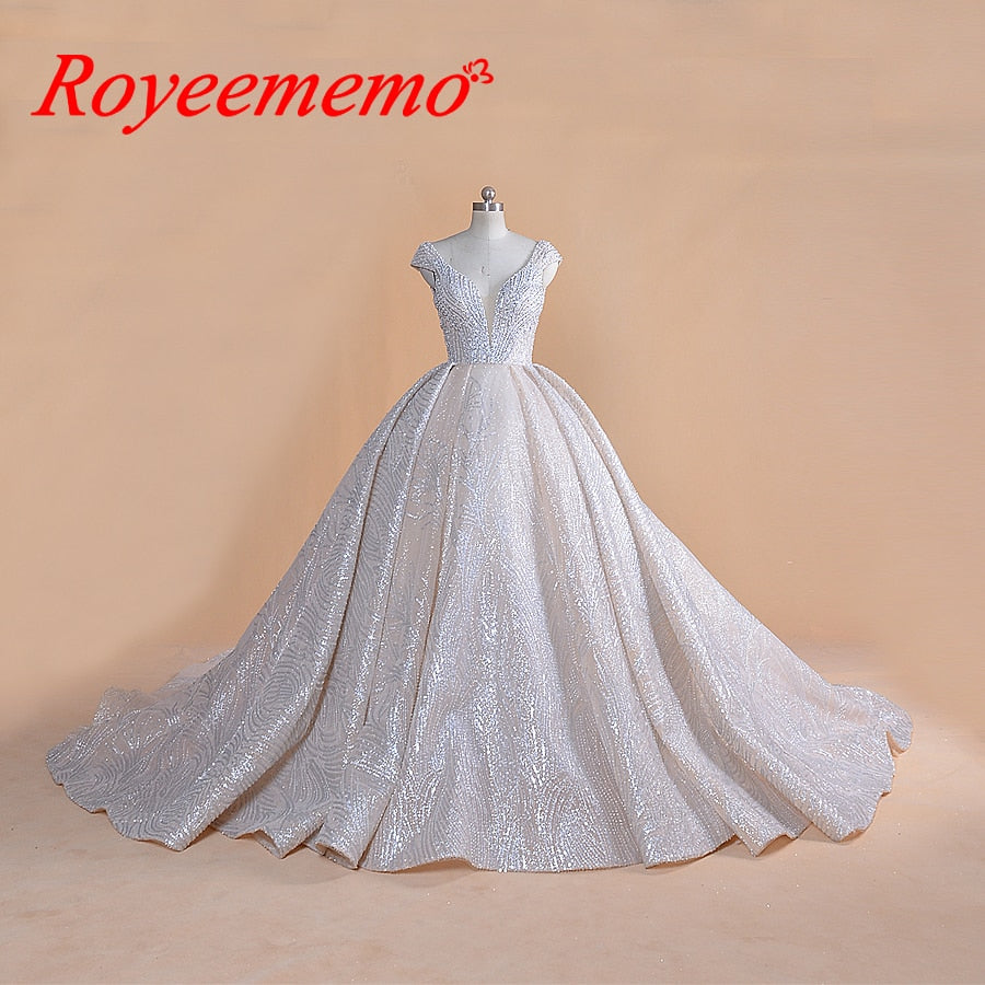 2019 new luxury design ball gown full beading Royal train wedding dress glitter wedding gown factory made bridal dress wholesale
