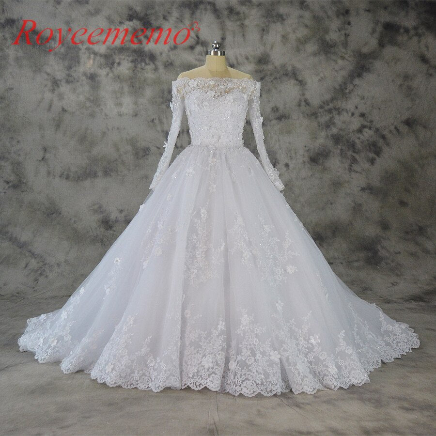 2018 new design Vestido de Noiva boat neck lace wedding dress off the shoulder long sleeve wedding gown custom made bridal dress