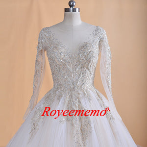 2019 Design luxurious lace Wedding Dress long sleeves wedding gown real image factory made wholesale price Dubai bridal dress