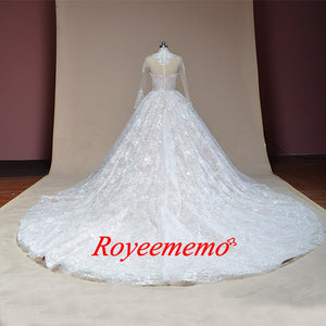 2019 new lace ball gown wedding dress Royal train high neck wedding gown custom made bridal dress factory directly bridal gown