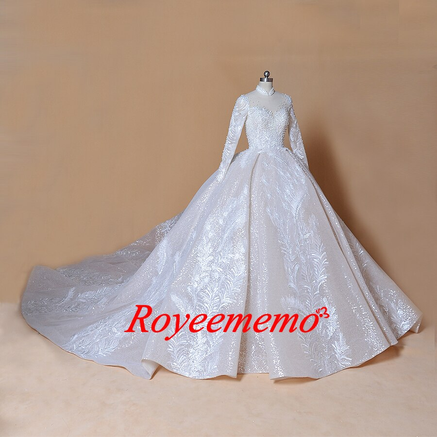 2019 bling bling shinny ball gown wedding dress Royal train high neck wedding gown custom made bridal dress factory directly