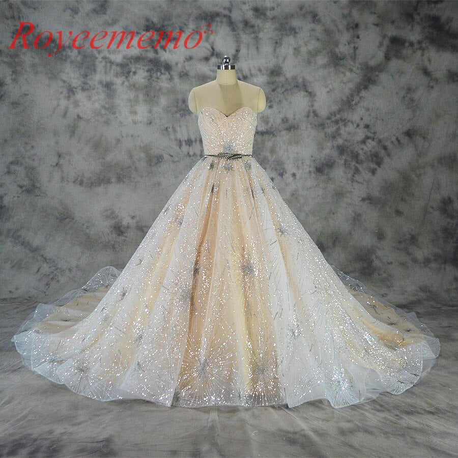 Vestido de Noiva shining lace design wedding dress sequined lace royal train wedding gown factory wholesale price bridal dress