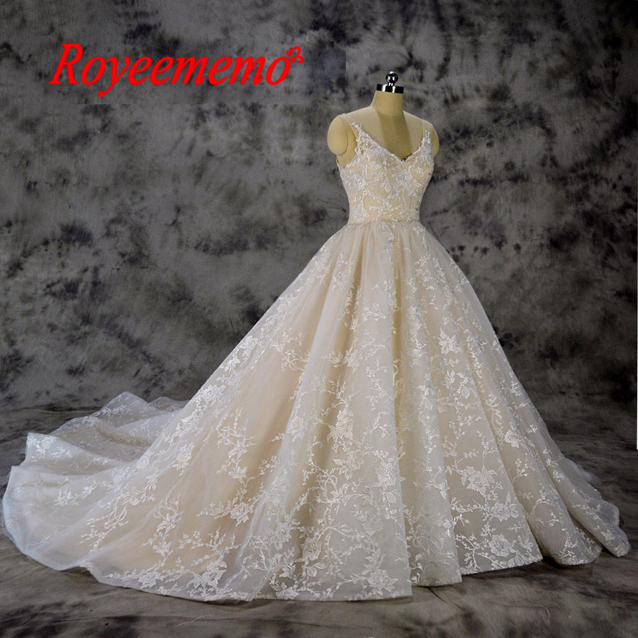 Vestido de Noiva new lace ball gown wedding dress luxury Champagne and Ivory wedding gown custom made factory wholesale price