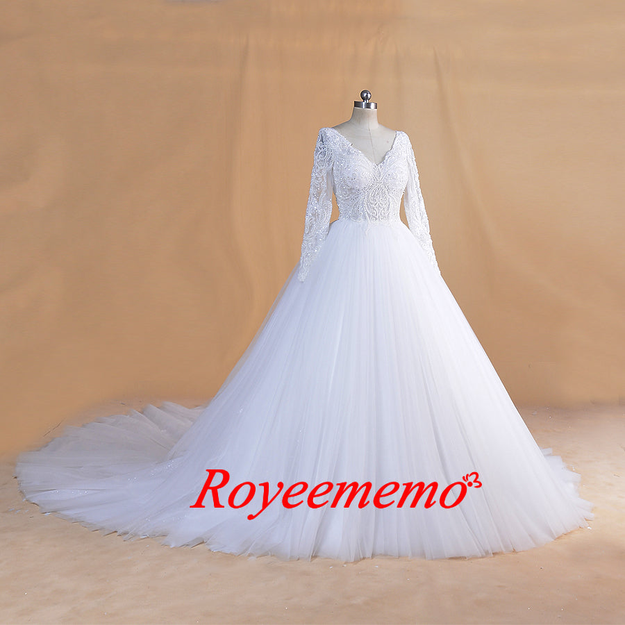 2020 new full beading top Wedding Dresses long sleeve bride dress custom made Dubai wedding gown factory directly ball gown