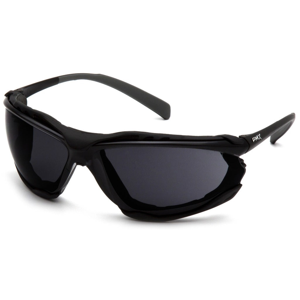 Pyramex SB9323ST Proximity Safety Glasses - Black Foam Lined Frame - Dark Gray H2X Anti-Fog Lens