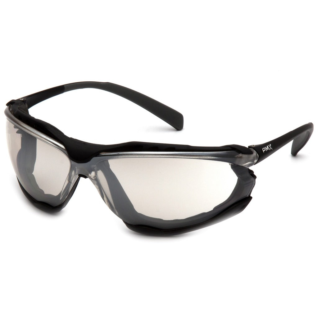 Pyramex SB9380ST Proximity Safety Glasses - Black Foam Lined Frame - Indoor/Outdoor Mirror Anti-Fog Lens