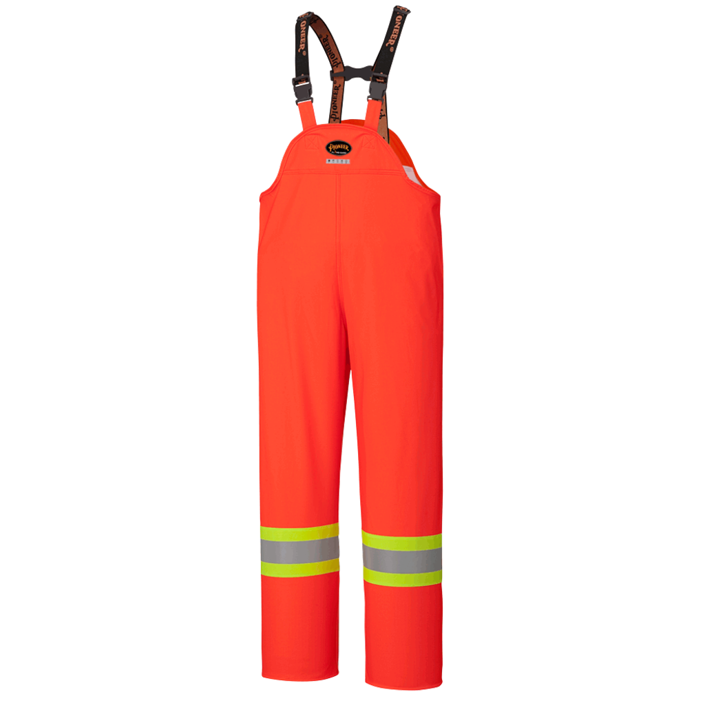 Pioneer Safety® FR Waterproof Hi-Viz Safety Bib Pants - PU Stretch - HV ORANGE