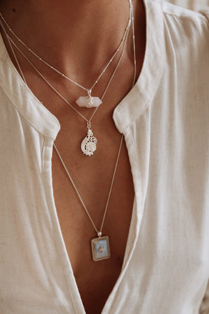 Rose Quartz Floret Necklace - Silver
