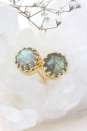 Labradorite New Bloom Studs - Gold