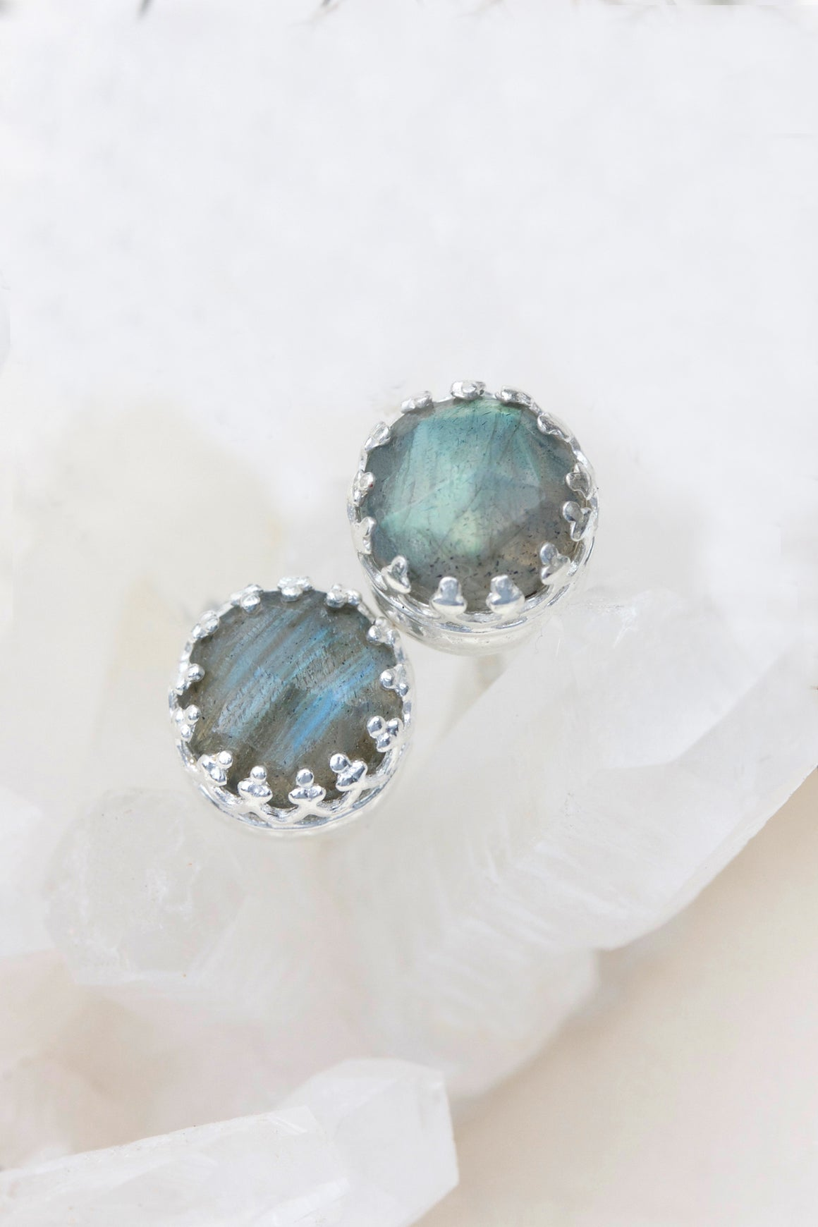 Labradorite New Bloom Studs - Silver