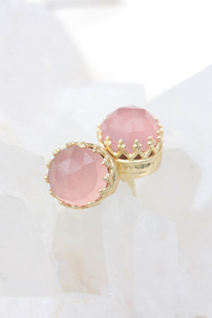 Rose Quartz New Bloom Studs - Gold