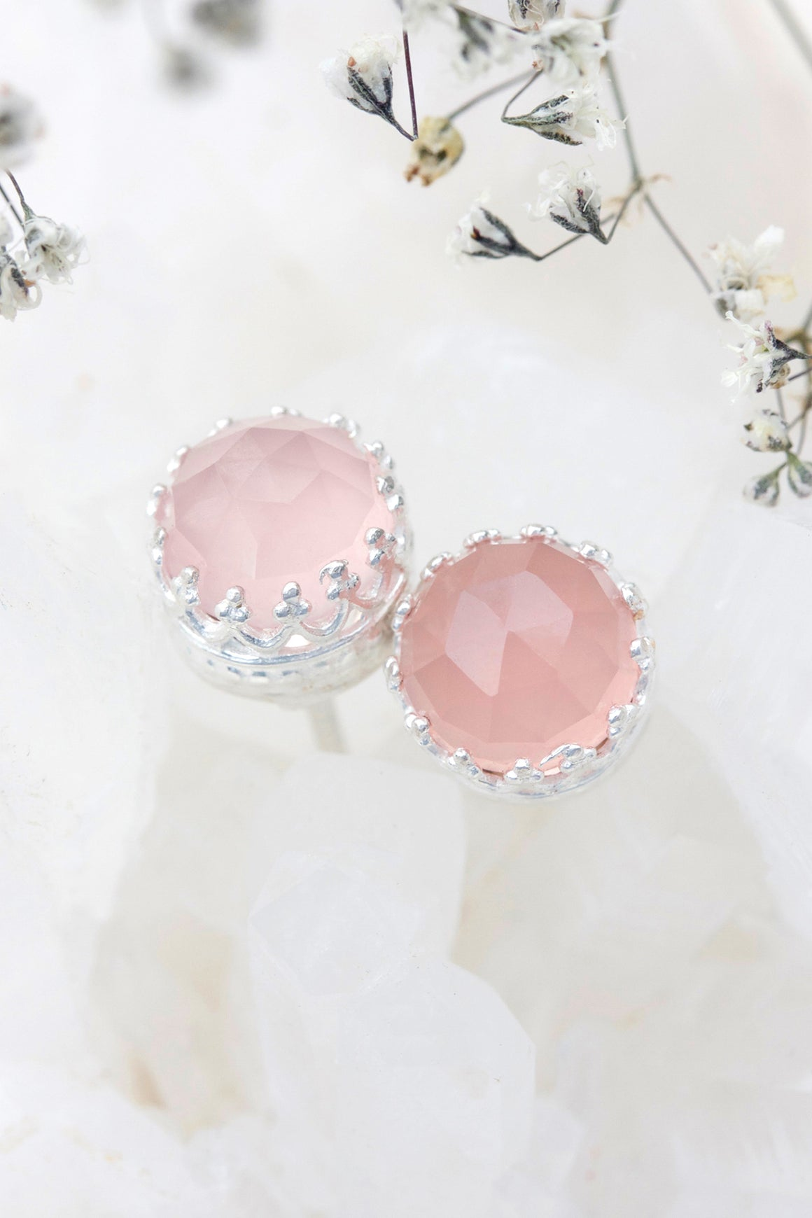 Rose Quartz New Bloom Studs - Silver
