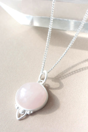 Silver Healing Gemstone Necklace - Rose Quartz
