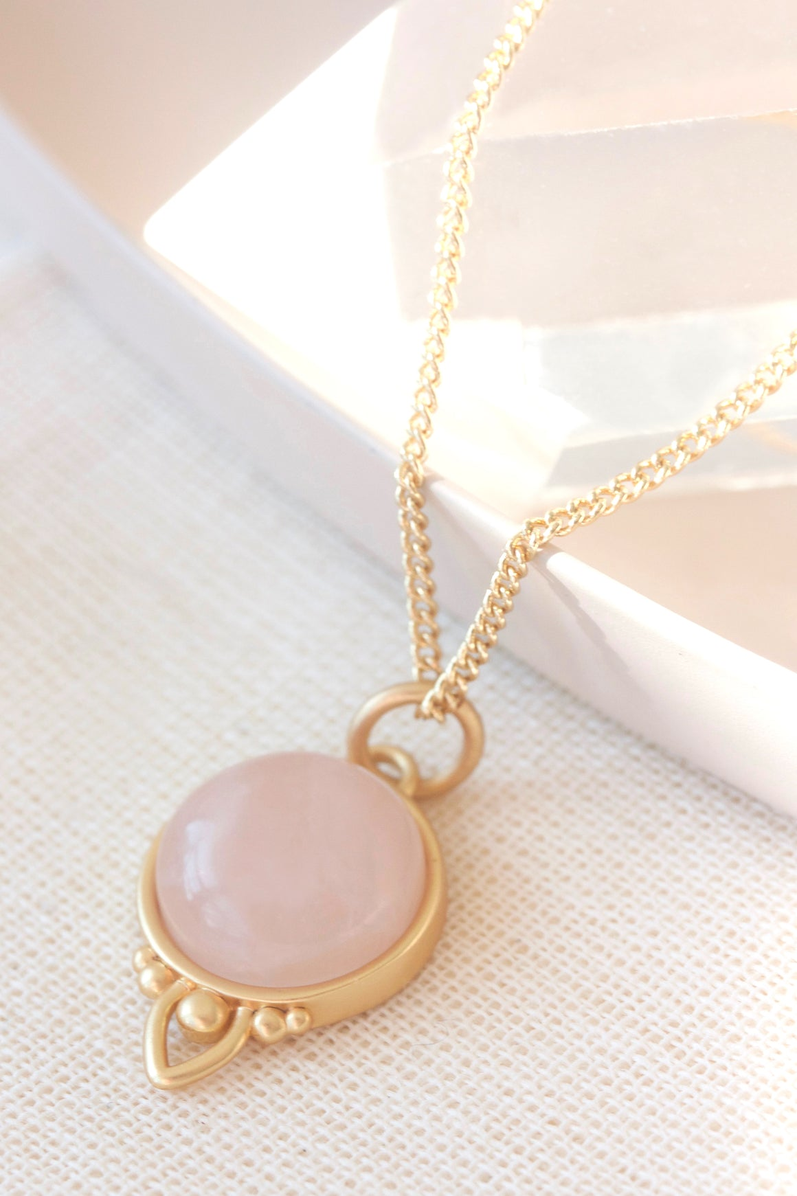 Gold Healing Gemstone Necklace - Rose Quartz