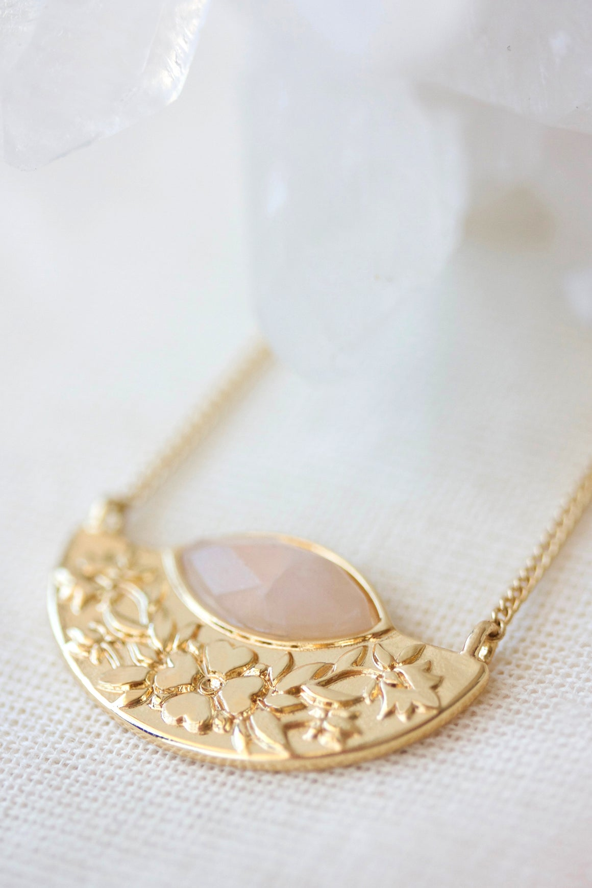 Wildflower Necklace Rose Quartz - Gold