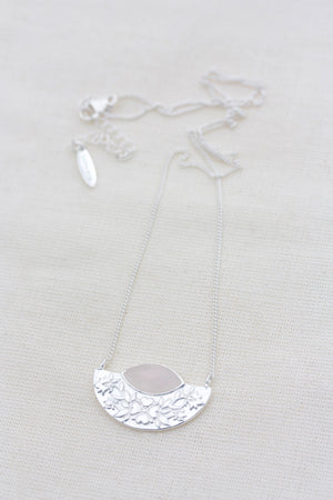 Wildflower Necklace Rose Quartz - Silver