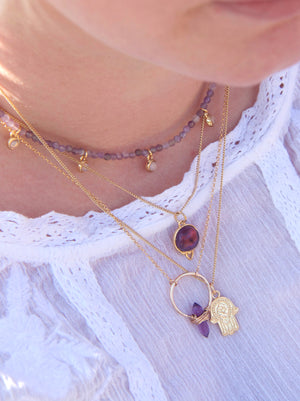 Silver Healing Gemstone Necklace - Amethyst