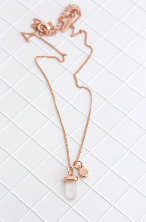 rose gold april crystal birthstone necklace