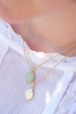 Gold Pendant Necklace and green aventurine necklace layered