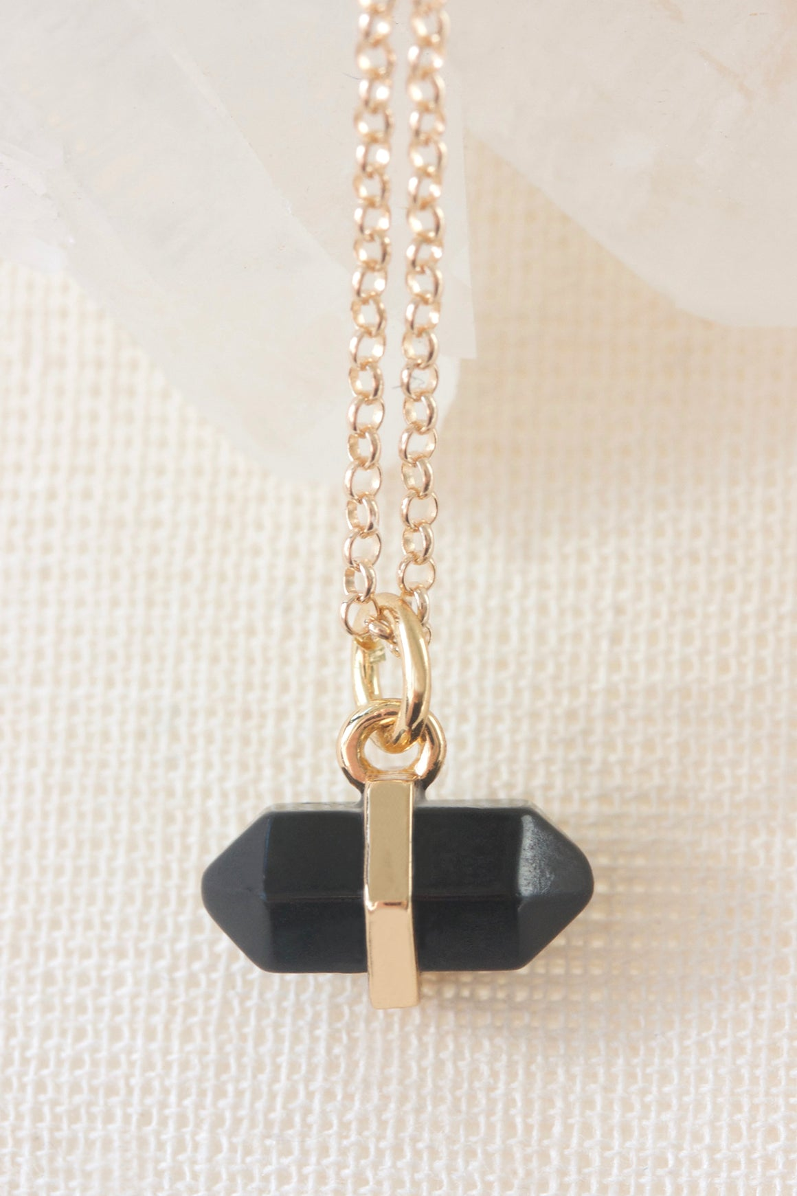 Gold Black Agate Intention Necklace