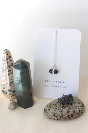 Silver Black Agate Intention Necklace