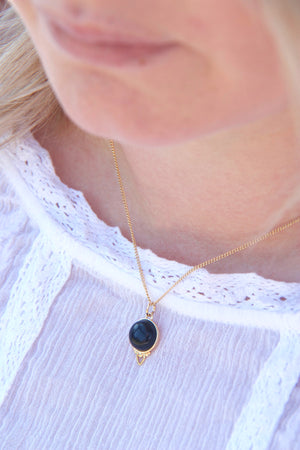 Gold Healing Gemstone Necklace - Black Agate
