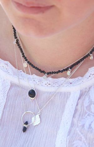 Silver Healing Gemstone Necklace - Black Agate