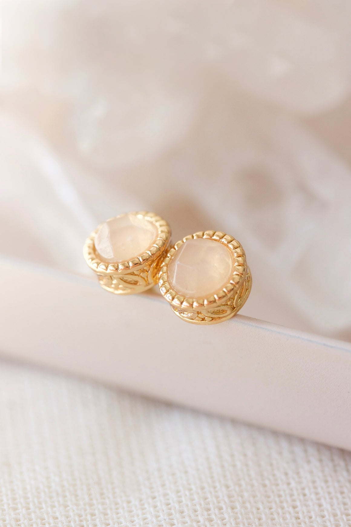 pretty rose quartz and gold filigree studs
