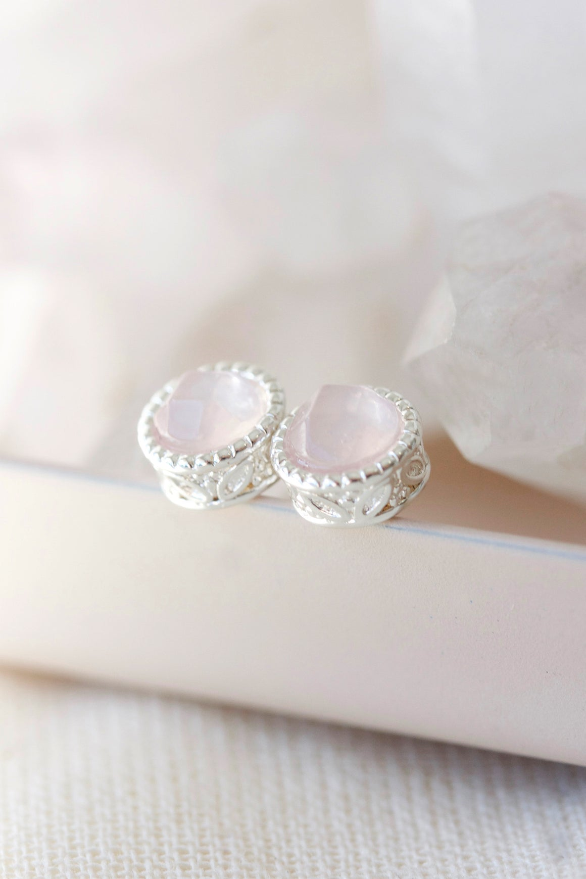 PRE-ORDER Silver Rose Quartz Filigree Studs