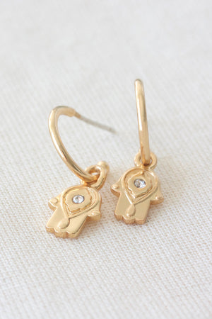 Hamsa Hand Protection hoop earrings