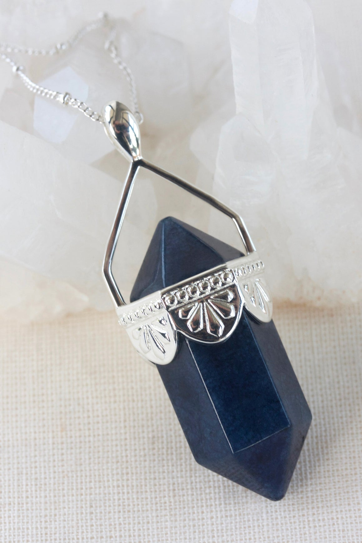 Sodalite Pendulum Necklace - Silver