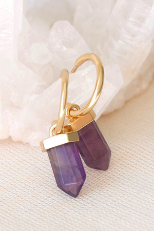 Gold Amethyst Intention Hoops