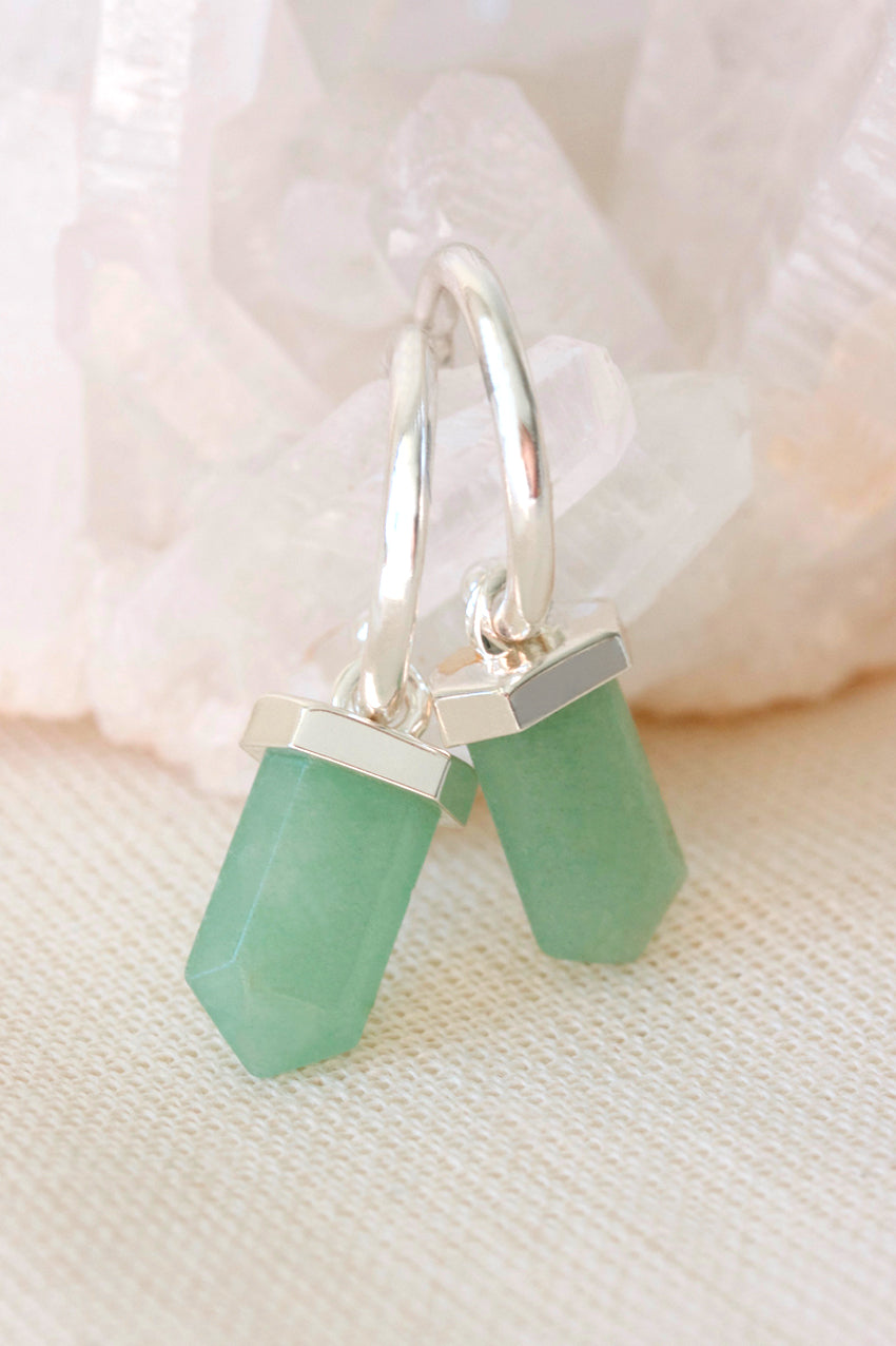 Silver Aventurine Intention Hoops
