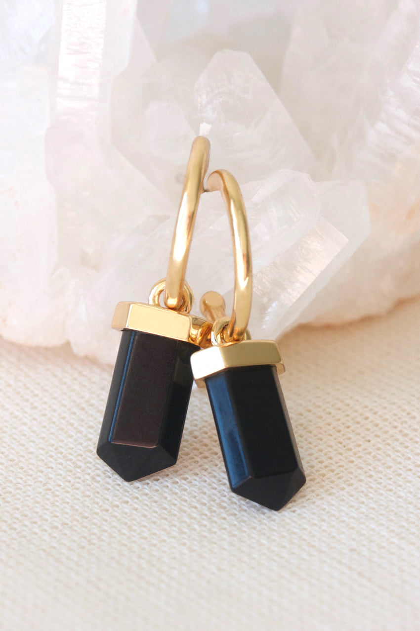 Gold Black Agate Intention Hoops
