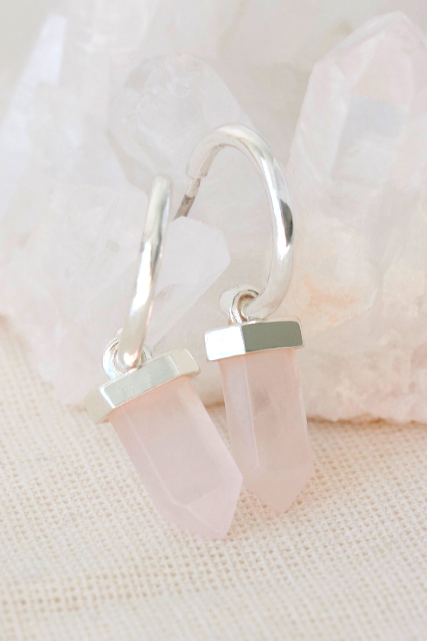 Silver Rose Quartz Intention Hoops