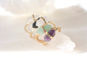 gold crystal gemstone rings