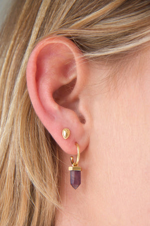 Silver Amethyst Intention Hoops