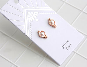Birthstone Studs June/Pearl